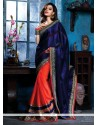 Navy Blue And Red Satin Designer Saree