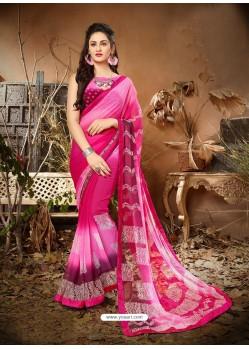 Classy Hot Pink Designer Georgette Sari