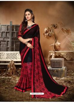 Awesome Black Designer Georgette Sari