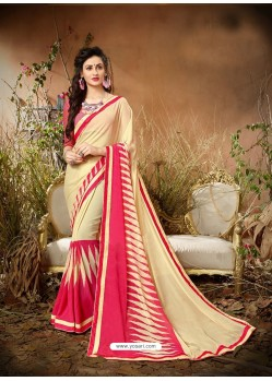 Awesome Cream Designer Georgette Sari