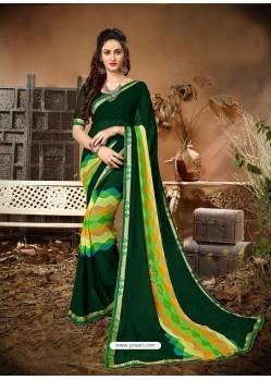 Trendy Dark Green Designer Georgette Sari