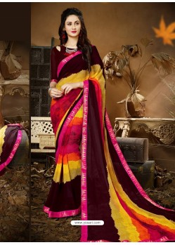 Dashing Multi Colour Designer Georgette Sari