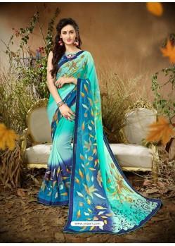 Classy Sky Blue Designer Georgette Sari