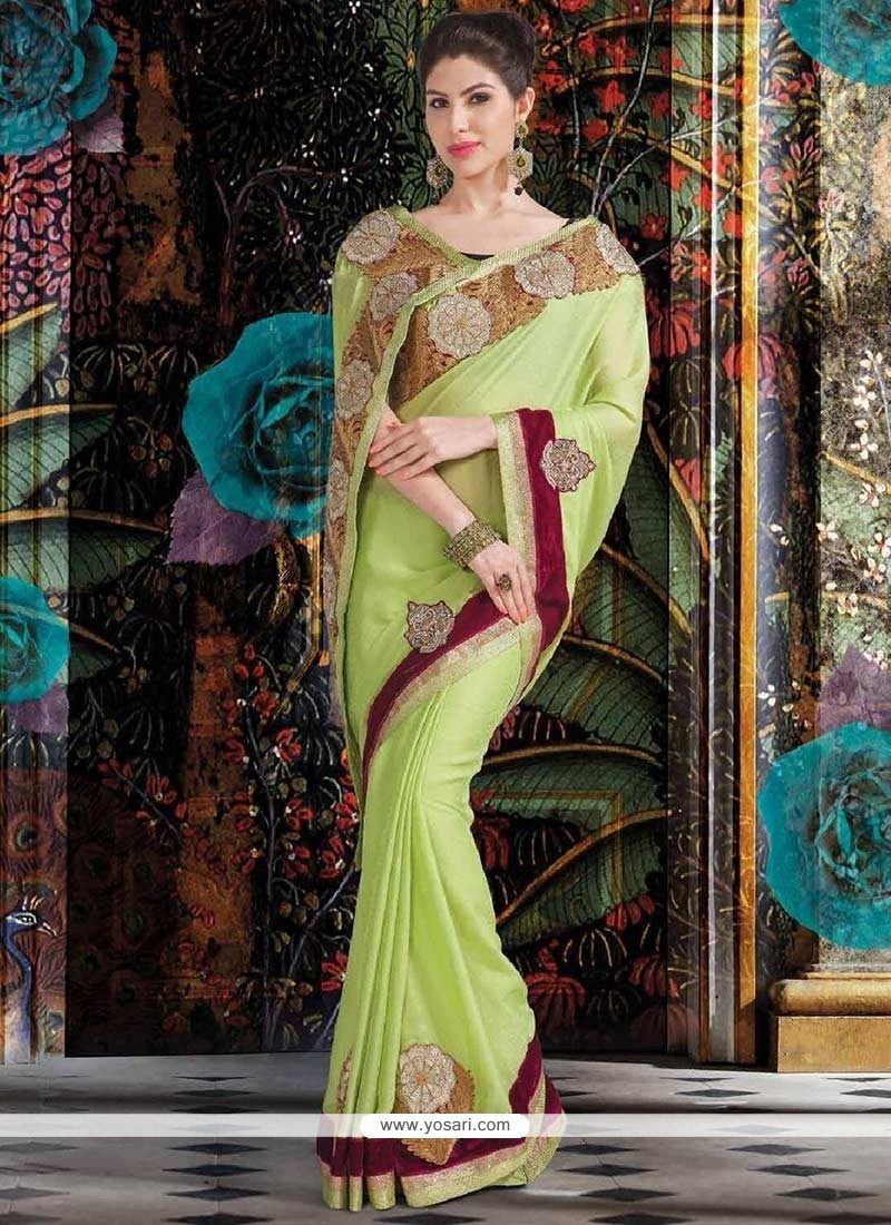 Eyeful Pista Green Faux Georgette Saree