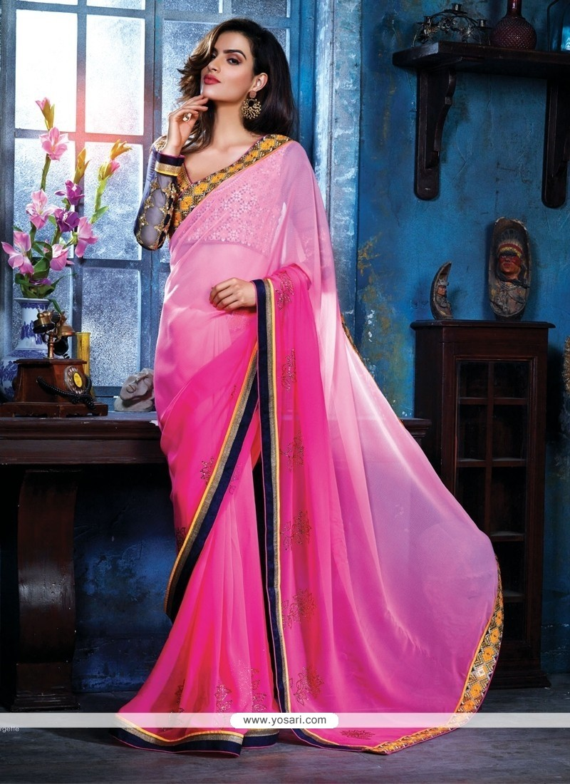 Ombre Pink Georgette Party Wear Saree