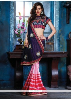 Stellar Pink And Blue Cotton Silk Designer Saree