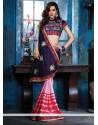 Stellar Pink And Blue Cotton Silk Designer Saree