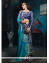 Flashy Blue Bamber Designer Saree