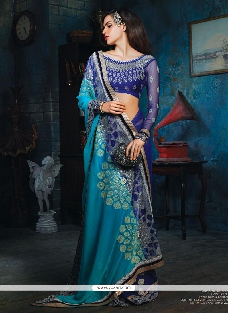 Flashy Blue Bamber Designer Saree