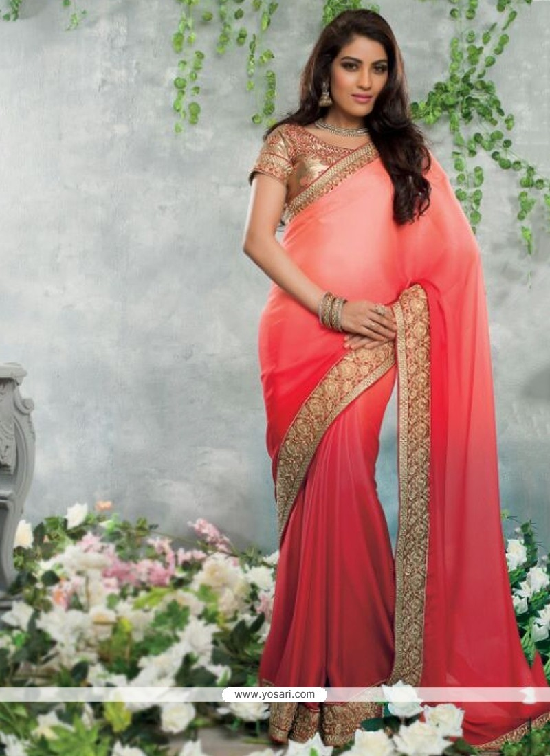 Beautiful Red Satin Jacquard Party Wear Saree