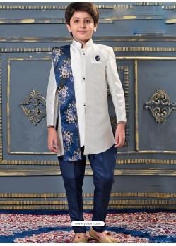 Trendy White Sherwani For Boys