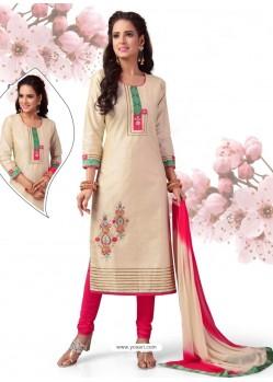 Scintillating Off White Embroidered Churidaar Salwar Suit