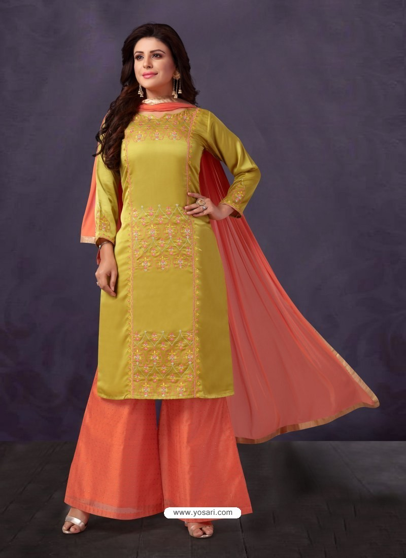 d7846bc176 Buy Ravishing Parrot Green Embroidered Palazzo Salwar Suit | Palazzo ...