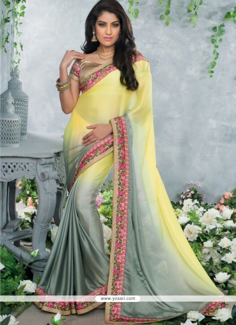 Yellow And Grey Shaded Satin Chiffon Saree