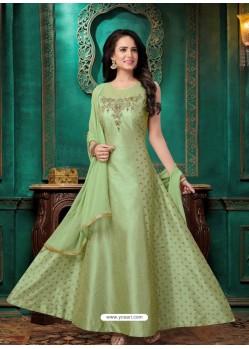Ravishing Olive Green Embroidered Anarkali Suit