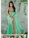 Sea Green Chiffon Party Wear Saree