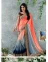 Peach And Grey Shaded Satin Chiffon Saree
