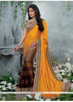 Lovely Gold Satin Jacquard Designer Saree