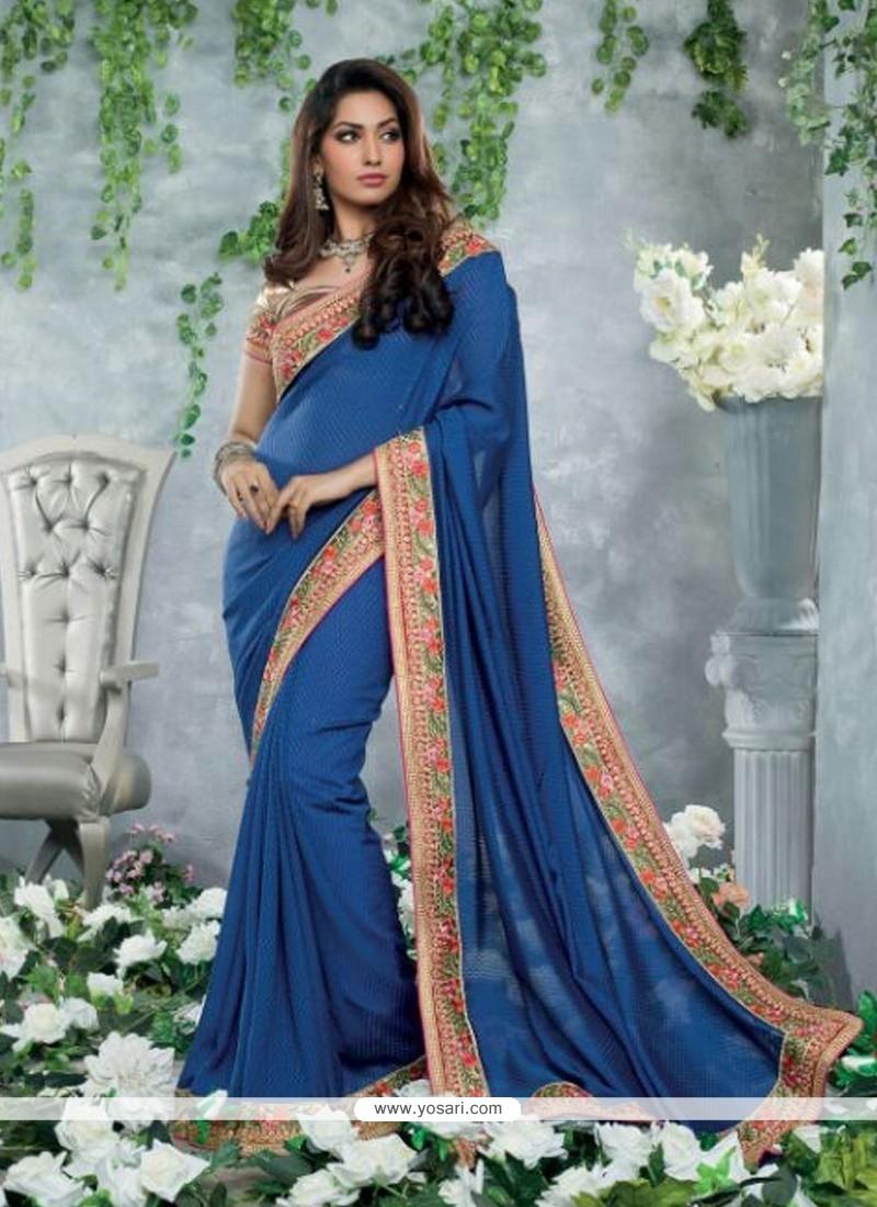 Jaaz Blue Chiffon Jacquard Casual Saree