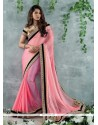 Awesome Pink Zari Work Party Wear Saree
