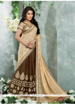 Cream And Brown Chiffon Jacquard Saree