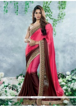 Hot Pink And Brown Satin Georgette Saree