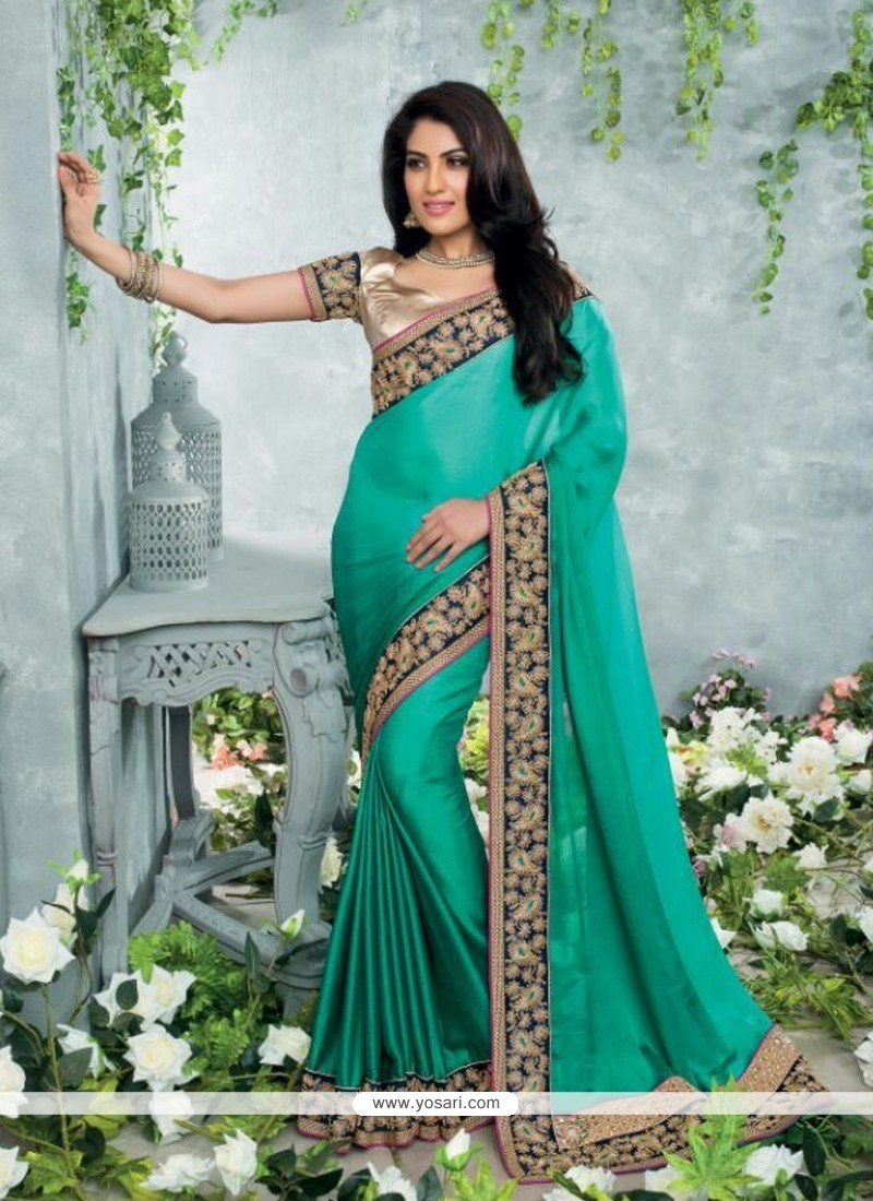 Teal Green Satin Chiffon Casual Saree