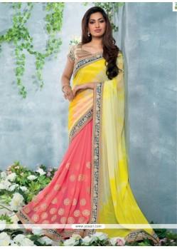 Yellow And Pink Chiffon Designer Saree
