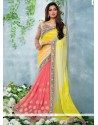 Yellow And Pink Chiffon Designer Saree