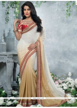 White And Cream Crepe Chiffon Saree