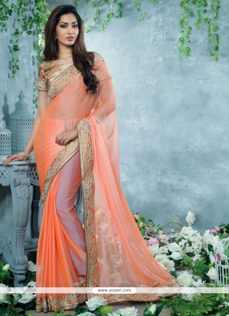 Amazing Peach Chiffon Party Wear Saree