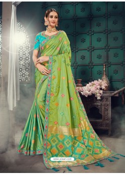 Awesome Green Bhagalpuri Silk Embroidered Sari
