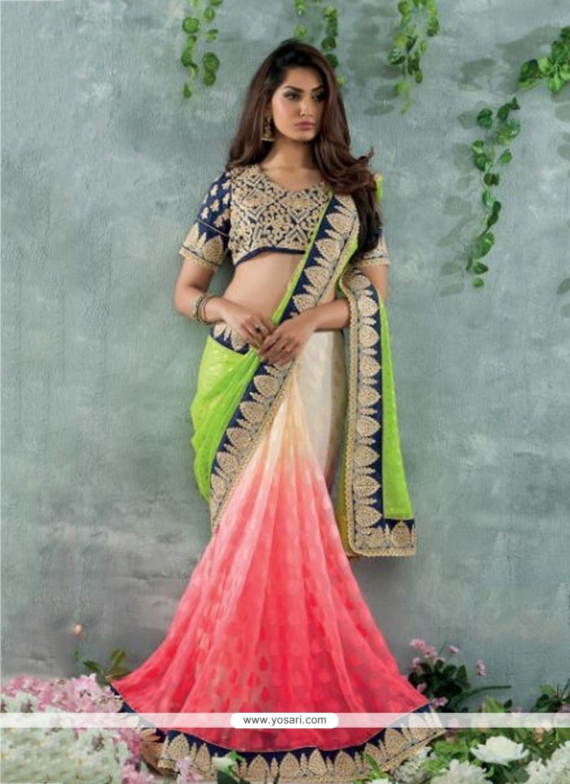 Cream And Pink Shaded Chiffon Designer Saree