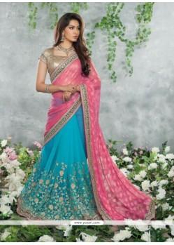 Turquoise And Pink Chiffon Jacquard Saree