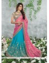 Turquoise And Pink Chiffon Jacquard Saree