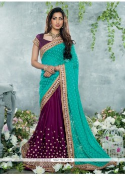 Sea Green Chiffon Jacquard Designer Saree