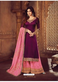 Trendy Purple Embroidered Palazzo Salwar Suit