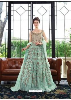 Scintillating Sky Blue Embroidered Designer Anarkali Suit