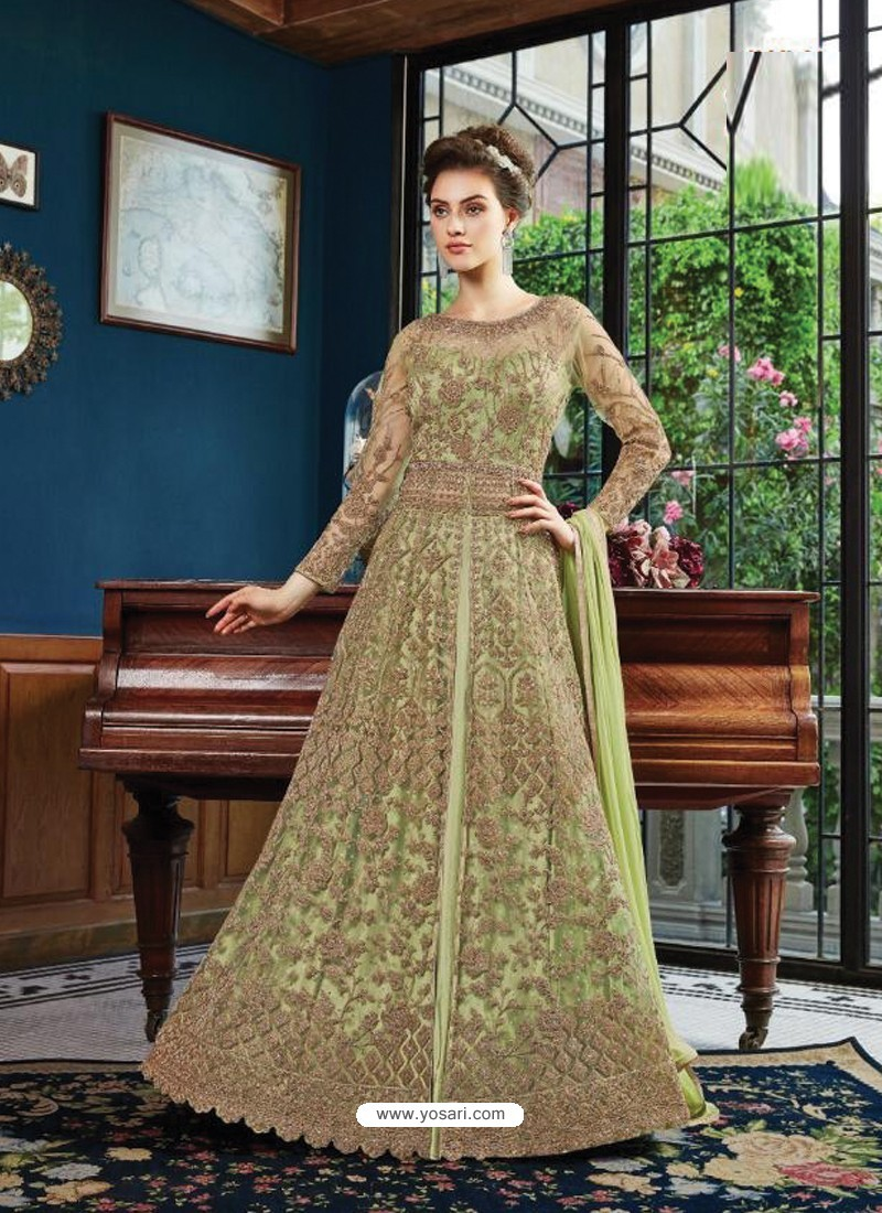 7aac7119fa Buy Fabulous Olive Green Embroidered Designer Anarkali Suit ...