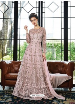 Awesome Peach Embroidered Designer Anarkali Suit