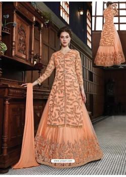 Awesome Light Orange Embroidered Designer Anarkali Suit