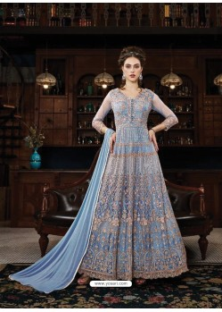 c861e443cad Awesome Blue Embroidered Designer Anarkali Suit
