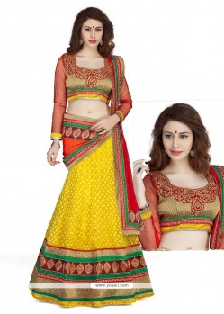 Exquisite Yellow Embroidery Work Lehenga Choli