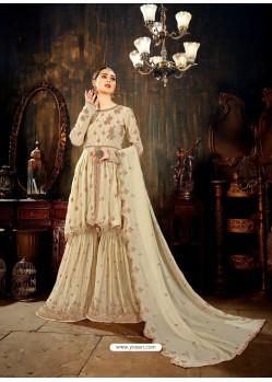 Fabulous Beige Designer Palazzo Salwar Suit