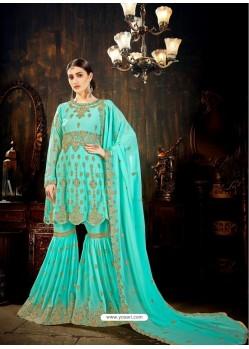 Scintillating Firozi Designer Palazzo Salwar Suit