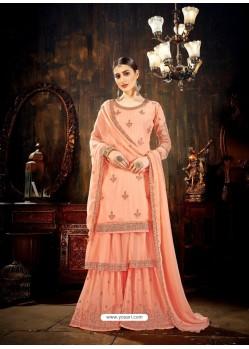 Fabulous Light Orange Designer Palazzo Salwar Suit