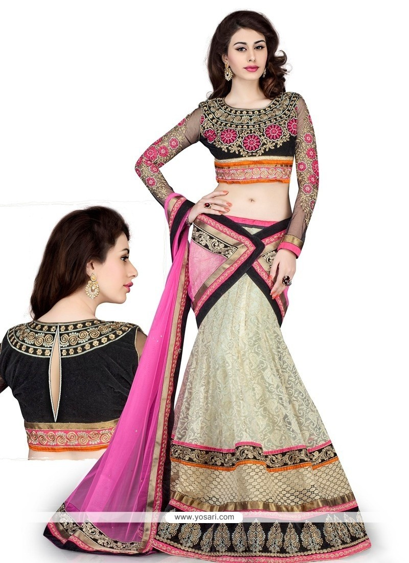 Pleasing White Net Designer Lehenga Choli