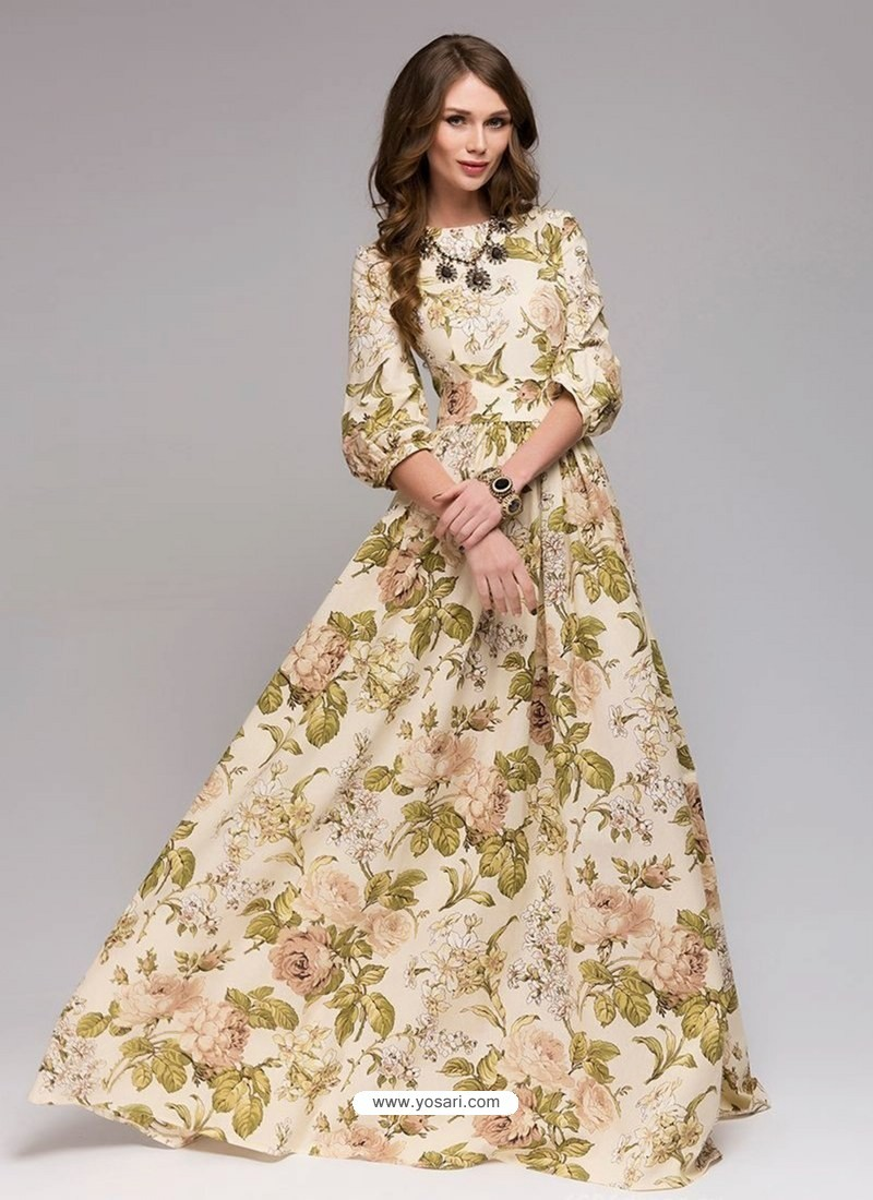 Stylish Cream Party Wear Gown for Girls