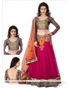 Ombre Hot Pink Net Lehenga Choli