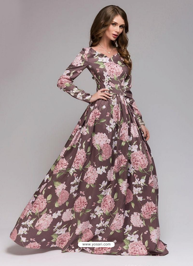 Sizzling Old Rose Party Wear Gown for Girls